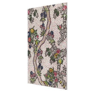 Textile design of plant forms and serpentine ribbo canvas print
