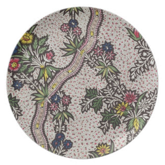Textile design of plant forms and serpentine ribbo plate
