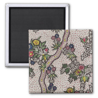 Textile design of plant forms and serpentine ribbo square magnet