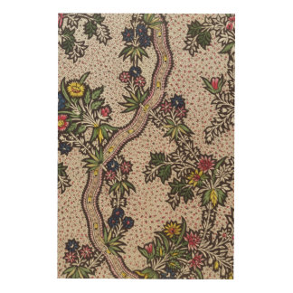 Textile design of plant forms and serpentine ribbo wood print