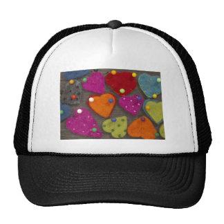 textile heart decoration trucker hat