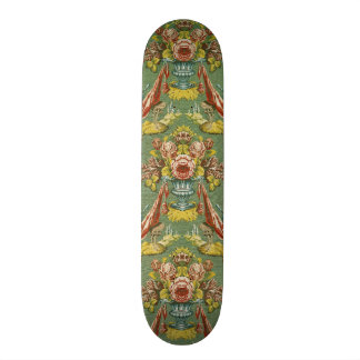 Textile with a repeating floral motif skateboard deck
