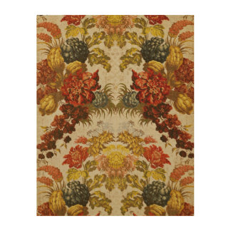 Textile with a repeating floral pattern wood print