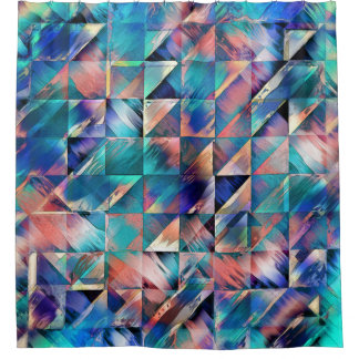 Textural Reflections of Turquoise Shower Curtain