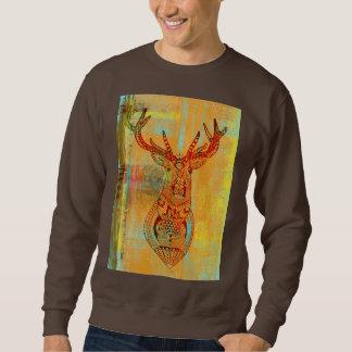 texture deer pull over sweatshirt