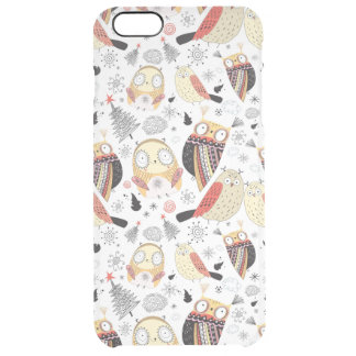 Texture funny owl clear iPhone 6 plus case