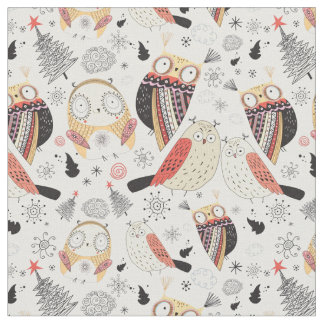 Texture funny owl fabric