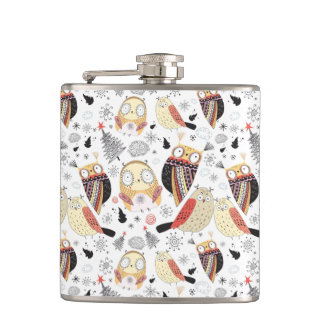 Texture funny owl hip flask
