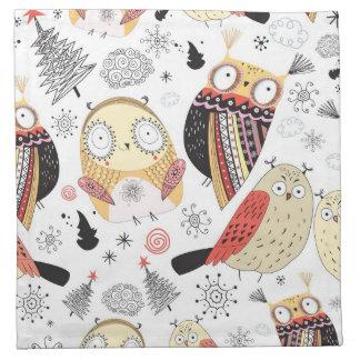 Texture funny owl napkin