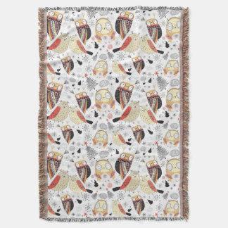 Texture funny owl throw blanket