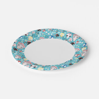 Texture laughing skull paper plate