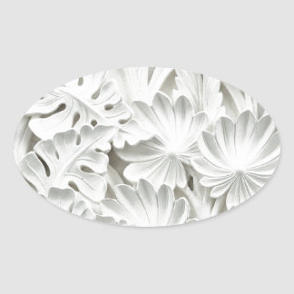 Texture leaf wall oval sticker