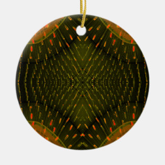 Texture of Light - Orange Green Light Thing Round Ceramic Decoration