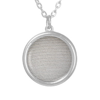 Texture of white fabric striped for background round pendant necklace