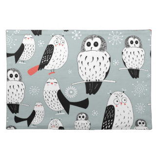 Texture Of White Owls Placemat