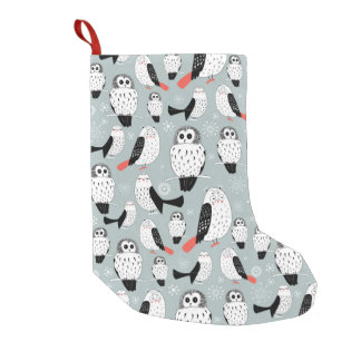 Texture Of White Owls Small Christmas Stocking
