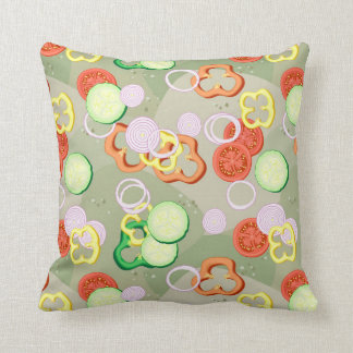 Texture With Slices Of Vegetables Cushion