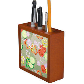 Texture With Slices Of Vegetables Desk Organiser