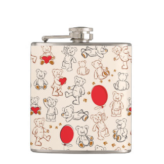 Texture With Teddy Bears Flasks