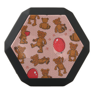 Texture With Teddy Bears, Hearts Black Bluetooth Speaker