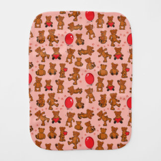 Texture With Teddy Bears, Hearts Burp Cloth