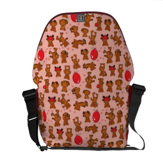 Texture With Teddy Bears, Hearts Courier Bag