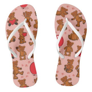 Texture With Teddy Bears, Hearts Flip Flops