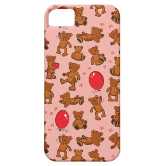Texture With Teddy Bears, Hearts iPhone 5 Cases