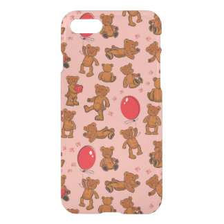 Texture With Teddy Bears, Hearts iPhone 8/7 Case