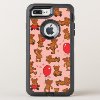 Texture With Teddy Bears, Hearts OtterBox Defender iPhone 8 Plus/7 Plus Case