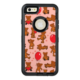 Texture With Teddy Bears, Hearts OtterBox Defender iPhone Case