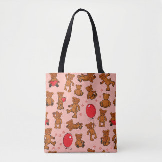 Texture With Teddy Bears, Hearts Tote Bag