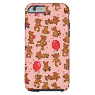 Texture With Teddy Bears, Hearts Tough iPhone 6 Case