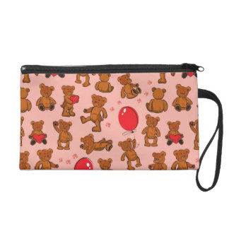 Texture With Teddy Bears, Hearts Wristlet Clutch