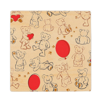 Texture With Teddy Bears Wood Coaster