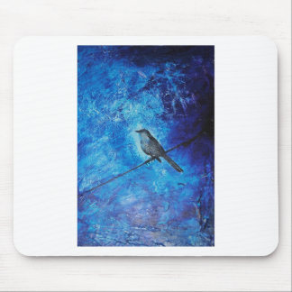 Textured acrylic painting of a blue bird in nature mouse pads