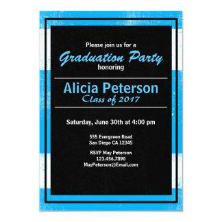 Textured Black & Blue Graduation Party Invite