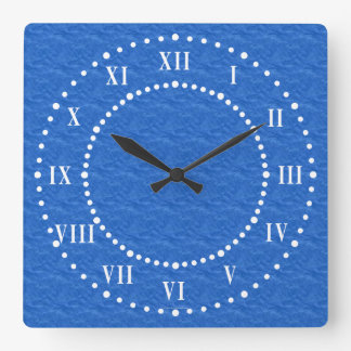 Textured Blue Look Roman Numerals Wall Clock