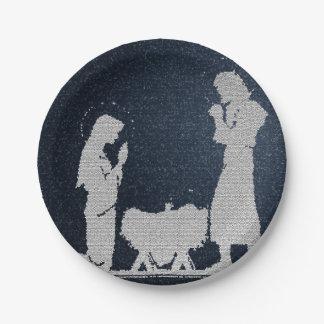 Textured Blue Nativity Paper Plate