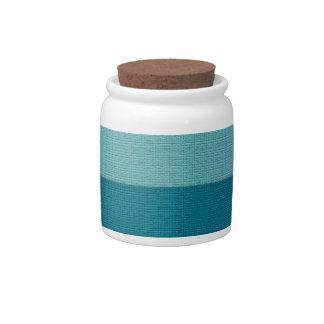 Textured Blue Stripes Pattern Candy Jars