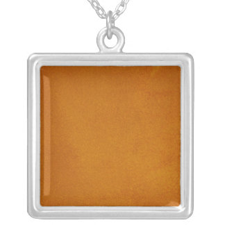 Textured Burnt Orange Square Pendant Necklace