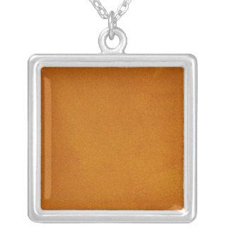 Textured Burnt Orange Square Pendant Necklace