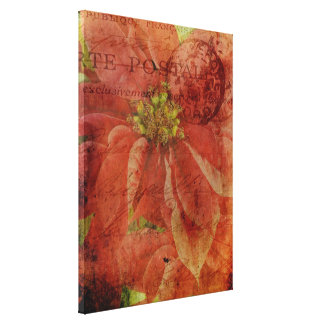 Textured Christmas Poinsettia Wrapped Canvas Gallery Wrapped Canvas