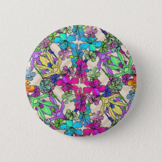 Textured Flower Art 6 Cm Round Badge