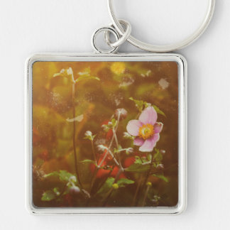 Textured Flower Silver-Colored Square Key Ring