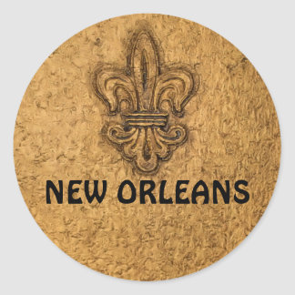 Textured French Fleur de Lis Classic Round Sticker