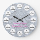 Textured Glass Pink Photo 12 Month Baby Large Clock