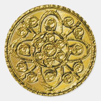 Textured Gold Filigree Round Sticker