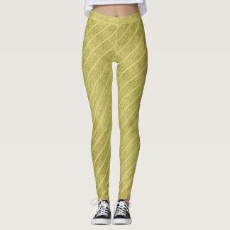 Textured Golden Stripes Pattern Christmas Fashion Leggings