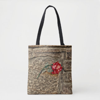 Textured Grunge Red Rose On Brick Wall Tote Bag